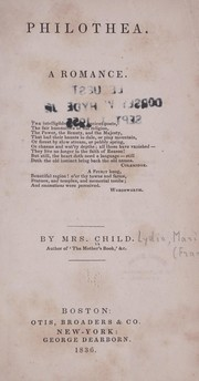 Cover of: Philothea by by Mrs. Child.