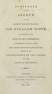 Cover of: Substance of the speech of the Right Honourable Sir William Scott