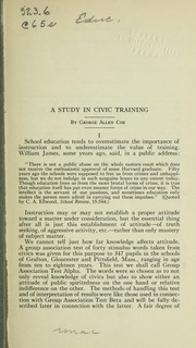 Cover of: A study in civic training