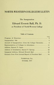 Cover of: The inauguration of Edward Everett Rall. Ph. D., as president of Northwestern College ... | North Central College (Naperville, Ill.)