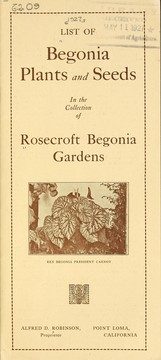 List of begonias in the collection of Rosecroft Begonia Gardens