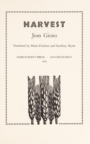 Harvest by Jean Giono