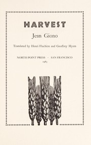 Cover of: Harvest | Jean Giono