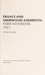 Cover of: France and Sherwood Anderson