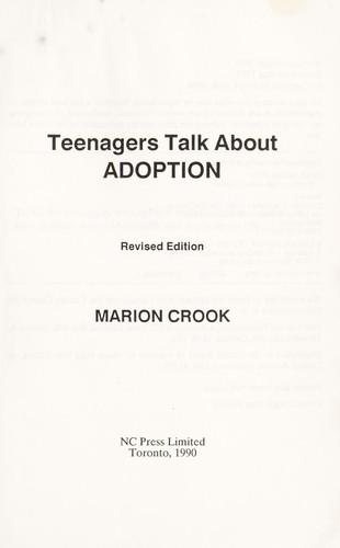 Teenagers Talk About Adoption by Marion Crook