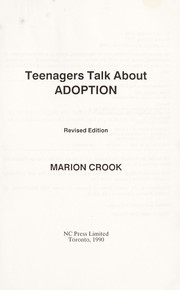Cover of: Teenagers Talk About Adoption | Marion Crook