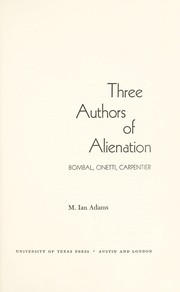 Cover of: Three authors of alienation