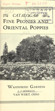 Cover of: Catalog of fine peonies and oriental poppies | Wahnfried Gardens