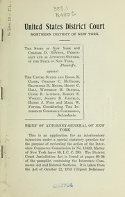 Cover of: Brief of Attorney-General of New York, Charles D. Newton