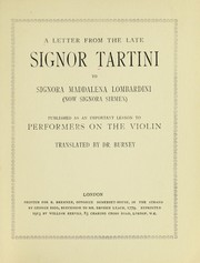 Cover of: A letter from the late Signor Tartini to Signora Maddalena Lombardini (now Signora Sirmen)