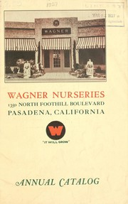 Cover of: Annual catalog and price list | Wagner Nurseries (Pasadena, Calif.)