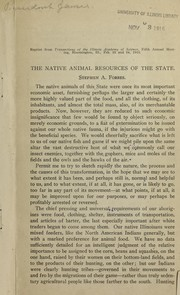 Cover of: The native animal resources of the state | Stephen Alfred Forbes