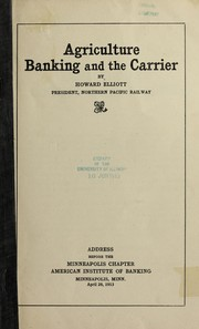 Cover of: Agriculture, banking and the carrier