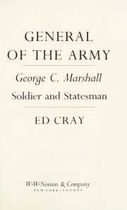 Cover of: General of the Army | Ed Cray
