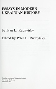 Cover of: Essays in modern Ukrainian history
