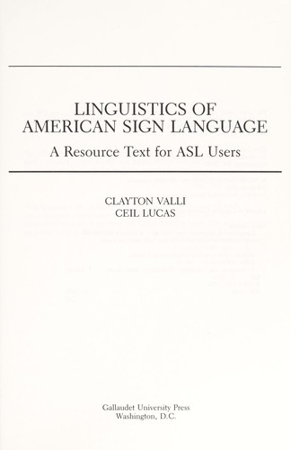 Linguistics of American sign language (1992 edition) | Open Library