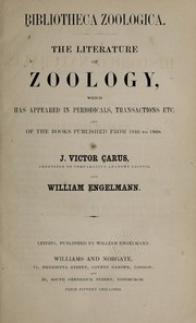 Cover of: Bibliotheca zoologica [I]