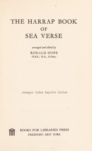 The Harrap book of sea verse. by Ronald Hope