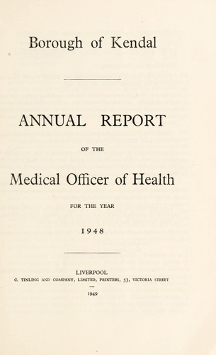 [Report 1948] by Kendal (England). Borough Council