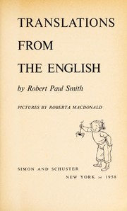 Cover of: Translations from the English. | Robert Paul Smith
