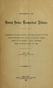 "Cover of: Address to the people of the State of New York concerning the so-called ""Freedom of worship"" bill, before the legislature of 1885"