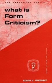 Cover of: What is form criticism?. | Edgar V. McKnight