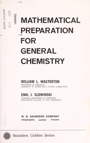 Cover of: Mathematical preparation for general chemistry