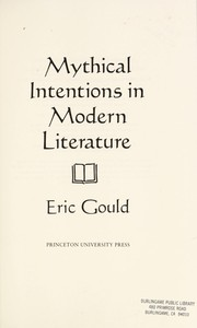 Cover of: Mythical Intentions in Modern Literature
