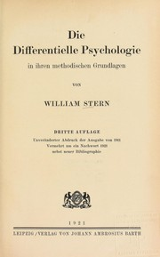 Cover of: Die differentielle Psychologie