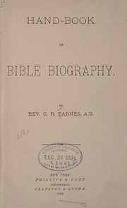 Cover of: Hand-book of Bible biography. | Barnes, C. R.
