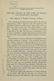Cover of: The milk supply of the cities of Urbana and Champaign, Illinois