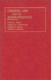 Cover of: Criminal law and its administration