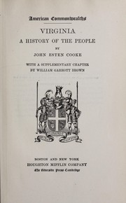 Cover of: Virginia, a history of the people