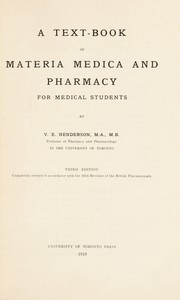 Cover of: A text-book of materia medica and pharmacy for medical students