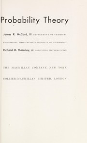 Cover of: Introduction to probability theory | James R. McCord