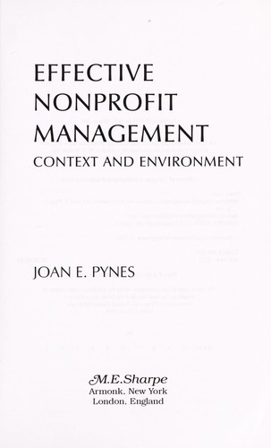 Effective nonprofit management by Joan Pynes