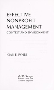Cover of: Effective nonprofit management | Joan Pynes