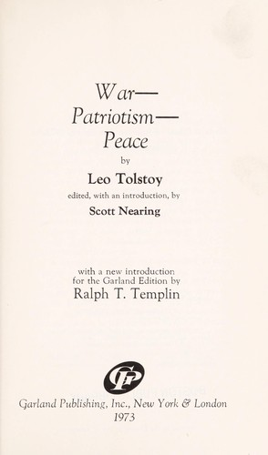War--patriotism--peace by Tolstoy
