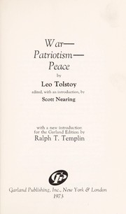 Cover of: War--patriotism--peace | Tolstoy