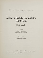 Cover of: Modern British dramatists, 1900-1945 |