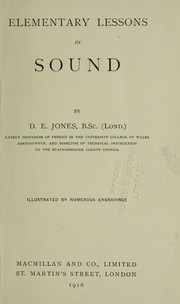 Cover of: Elementary lessons in sound | Daniel Evan Jones