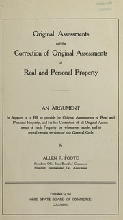 Cover of: Original assessments and the correction of original assessments of real and personal property