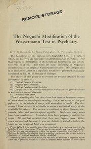 Cover of: The Noguchi modification of the Wassermann test in psychiatry | William W. Holmes
