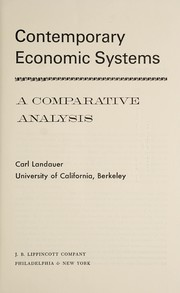 Cover of: Contemporary economic systems