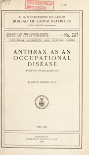 Cover of: Anthrax as an occupational disease