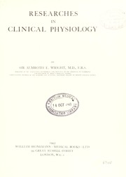 Cover of: Researches in clinical physiology