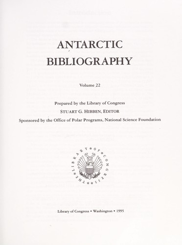Antarctic bibliography. v. 1- 1965- by
