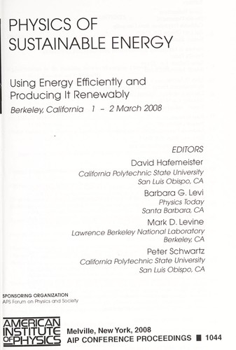 Physics of sustainable energy by editors, David Hafemeister ... [et al.].
