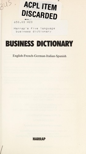 Harrap's Five Language Business Dictionary by Monika Angerer