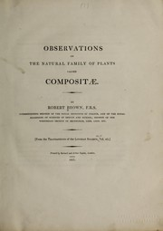 Cover of: Observations on the natural family of plants called Compositae